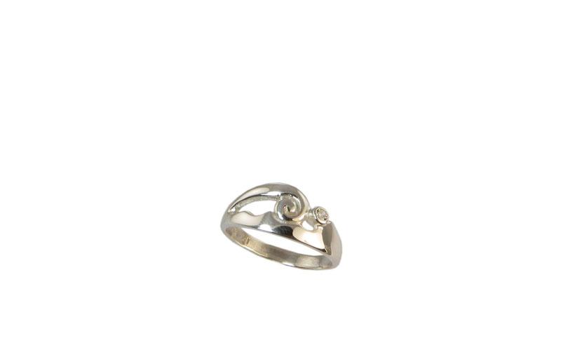 RG JJ 294 White Gold & Diamond Moana Koru style ring size Q